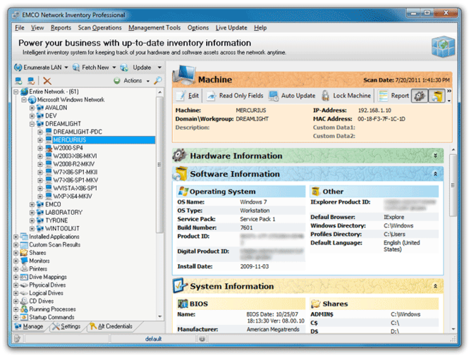 EMCO Network Inventory Professional Screenshot