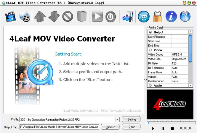4Leaf MOV Video Converter Screenshot