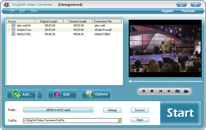 iOrgSoft MPEG Converter Screenshot