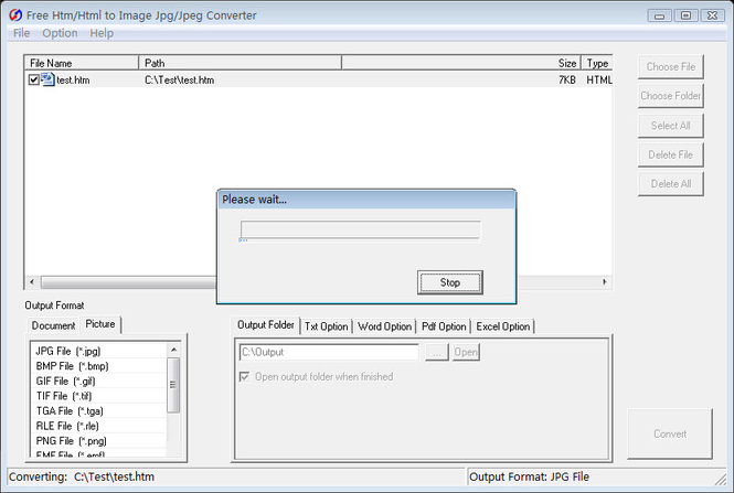 Free Htm to Image Jpg Converter Screenshot 1