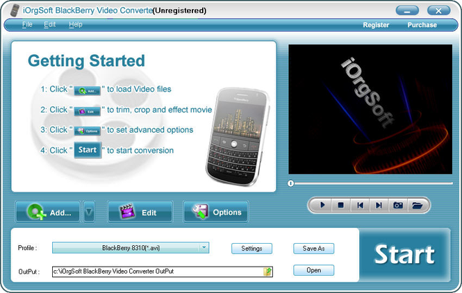 iOrgSoft BlackBerry Video Converter Screenshot