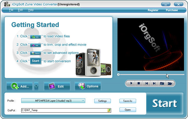 iOrgSoft Zune Video Converter Screenshot