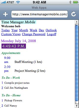 Time Manager Mobile Basic Screenshot