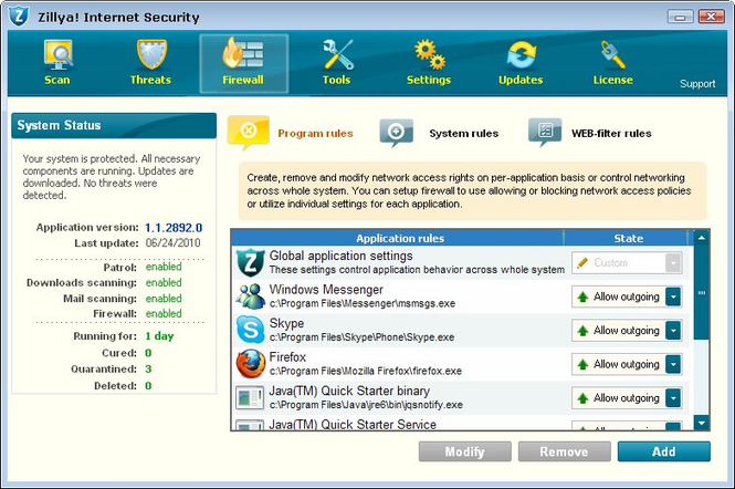 Zillya! Internet Security Screenshot