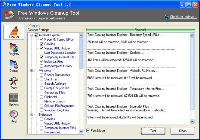 Free Windows Cleanup Tool Screenshot 1