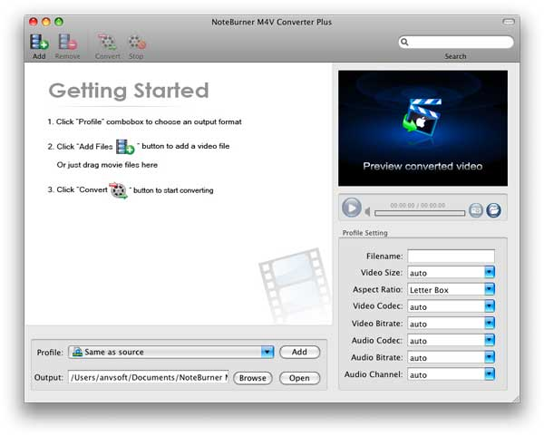 NoteBurner M4V Converter Plus for Mac Screenshot