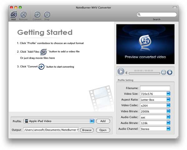 NoteBurner M4V Converter for Mac Screenshot