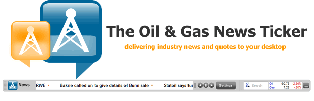 The Oil & Gas News / Energy Quote Ticker Screenshot