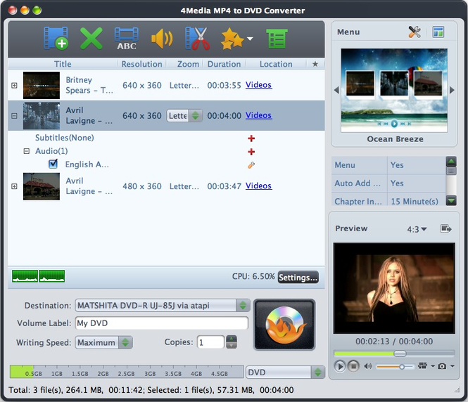4Media MP4 to DVD Converter for Mac Screenshot