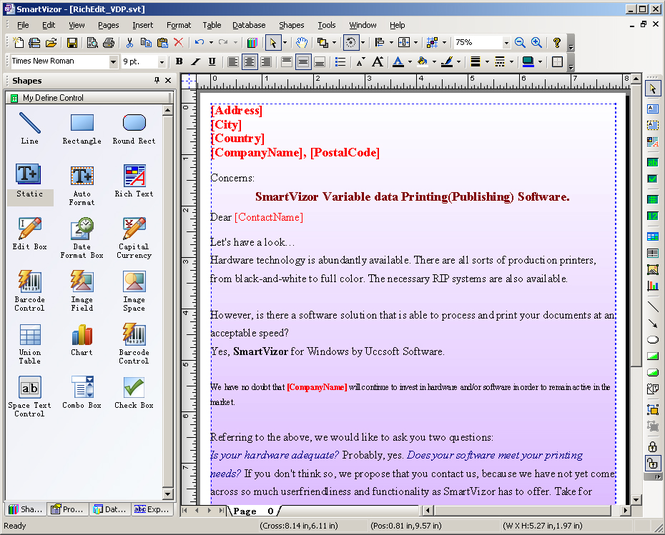 SmartVizor Variable Text Batch Printing Software Screenshot
