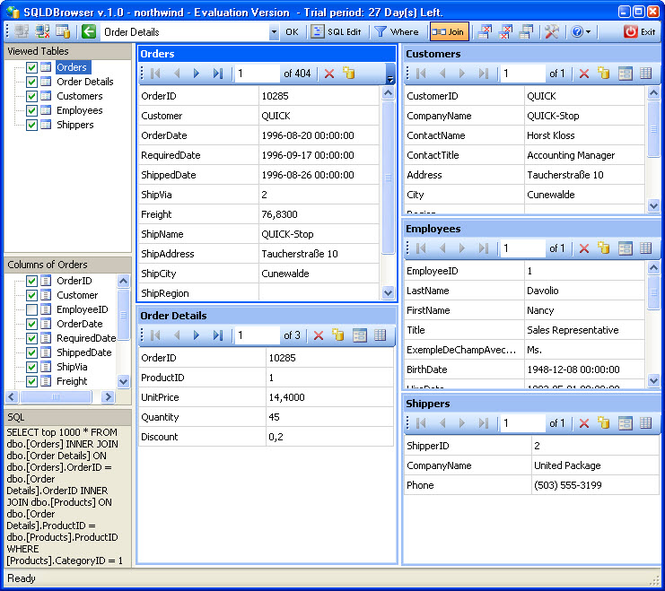 SQLDBrowser Screenshot 1