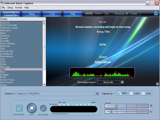 Internet Music Capture Screenshot