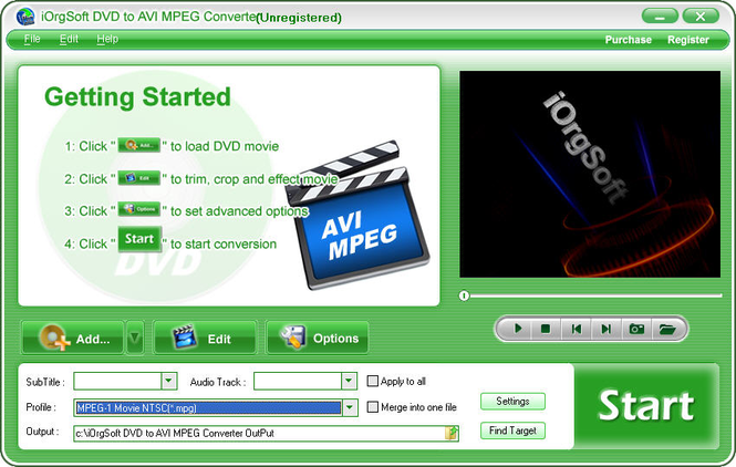 iOrgSoft DVD to AVI MPEG Converter Screenshot