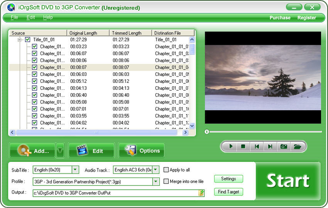 iOrgSoft DVD to 3GP Converter Screenshot
