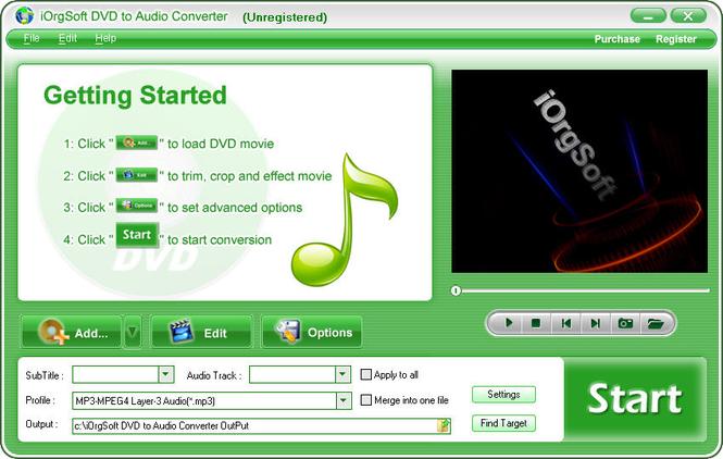 iOrgSoft DVD to Audio Converter Screenshot
