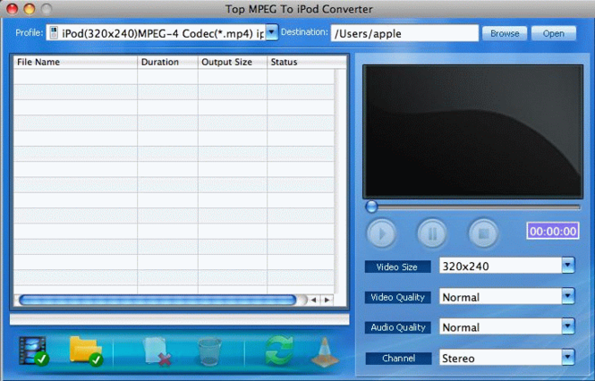 TOP MPEG to iPod Converter for Mac Screenshot 1