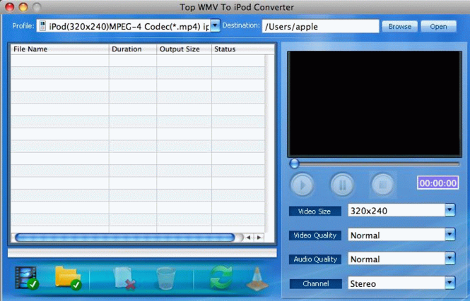 TOP WMV to iPod Converter for Mac Screenshot