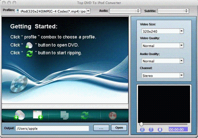TOP DVD to iPod Converter for Mac Screenshot