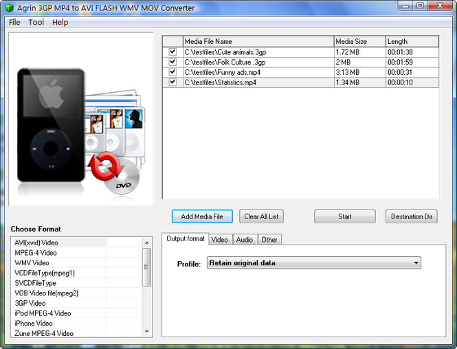 Agrin 3GP MP4 to AVI FLASH WMV Converter Screenshot