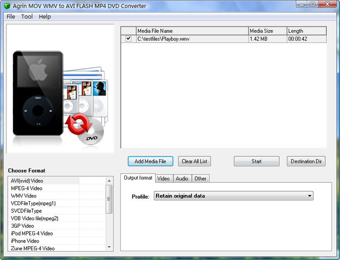 Agrin MOV WMV to AVI FLASH MP4 Converter Screenshot