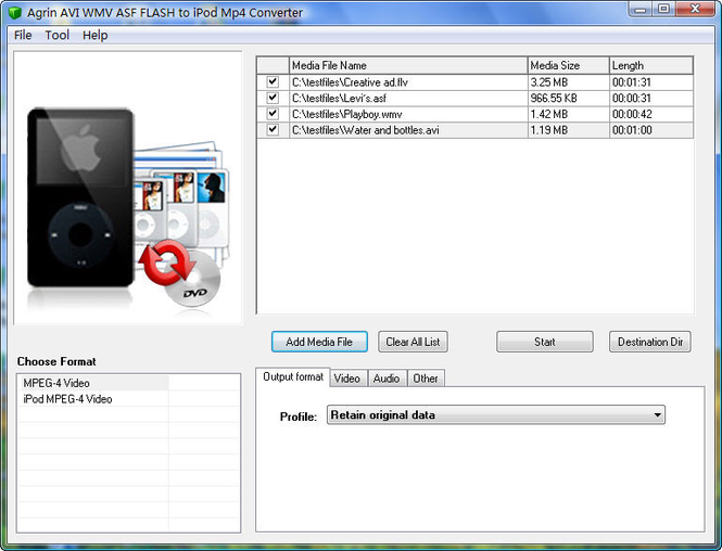 Agrin AVI WMV ASF to iPod Mp4 Converter Screenshot