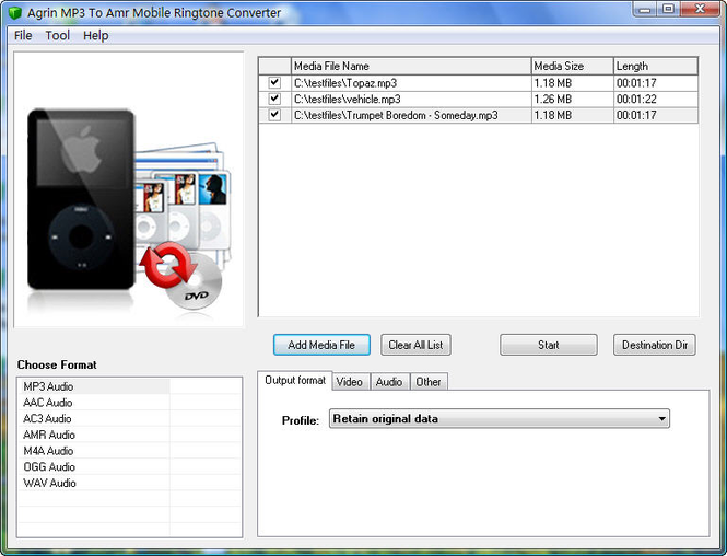 Agrin MP3 To Amr Mobile Converter Screenshot
