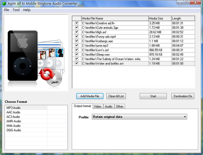 Agrin All to Mobile Ringtone Converter Screenshot 1
