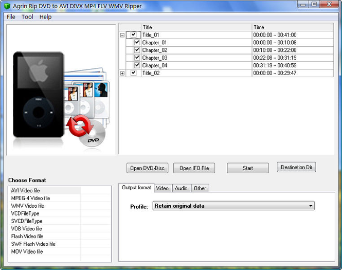 Agrin Rip DVD to AVI DIVX MP4 FLV Ripper Screenshot