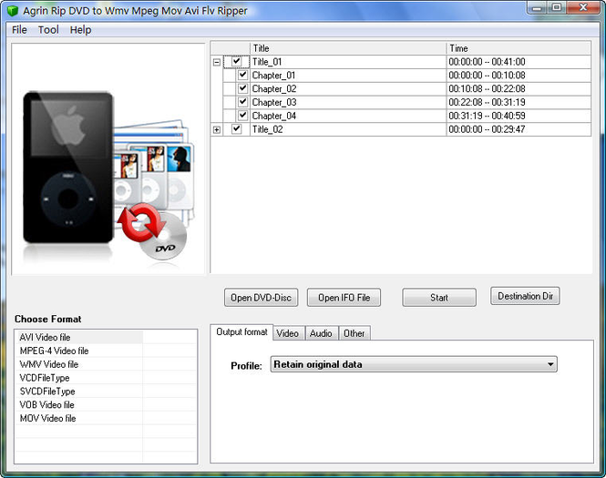 Agrin Rip DVD to Wmv Mpeg Mov Avi Ripper Screenshot