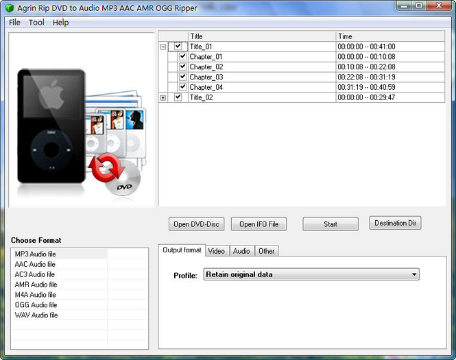 Agrin Rip DVD to Audio MP3 AAC Ripper Screenshot