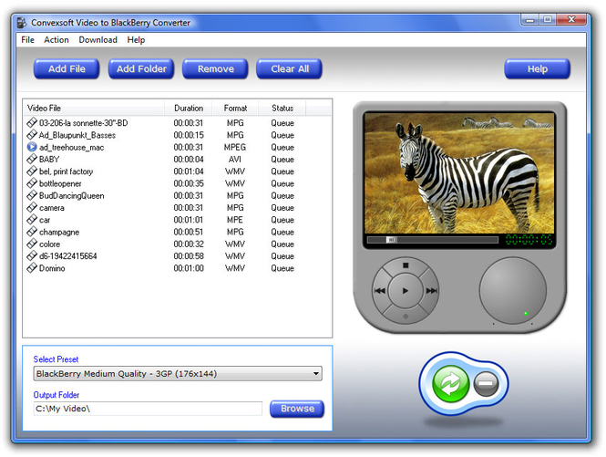 ConvexSoft Video to BlackBerry Converter Screenshot 1