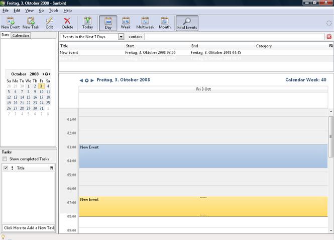 Mozilla Sunbird Screenshot