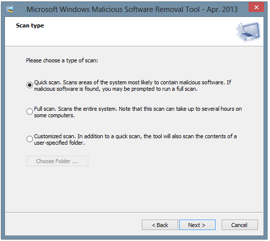 Windows Malicious Software Removal Tool Screenshot