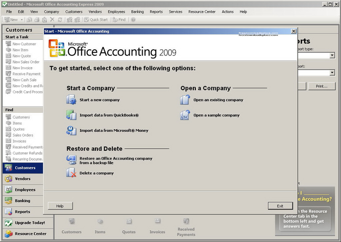 Microsoft Office Accounting Express Screenshot