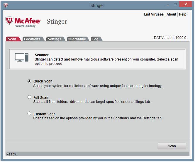 McAfee Stinger Screenshot 1