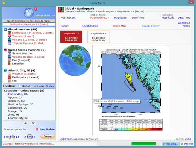 Earth Alerts Screenshot 1
