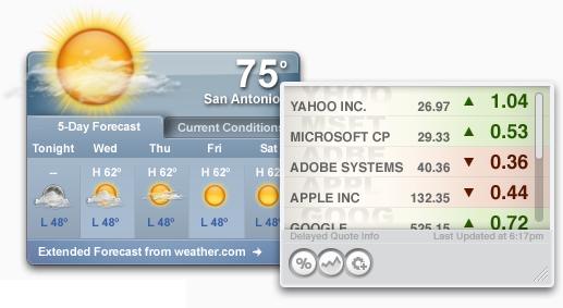 Yahoo! Widget Engine Screenshot