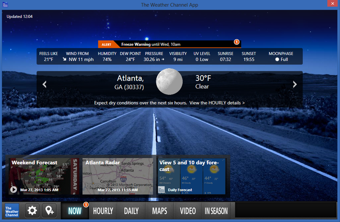 The Weather Channel Desktop Screenshot 1