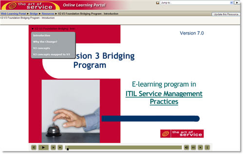 ITIL V2 to V3 Service Managers Bridge Online Training Course: Get ITIL V3 Managers Certified Now. Screenshot