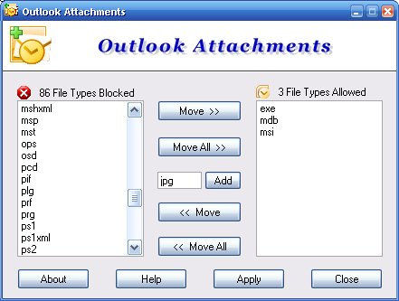 Outlook Attachments Screenshot