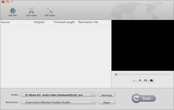 Tanbee Video Converter for Mac Screenshot