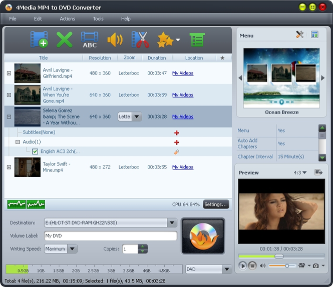 4Media MP4 to DVD Converter Screenshot 1