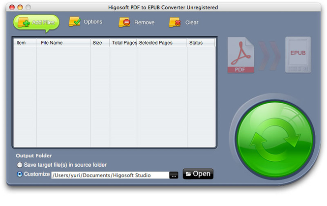 Higosoft PDF to EPUB Converter for Mac Screenshot
