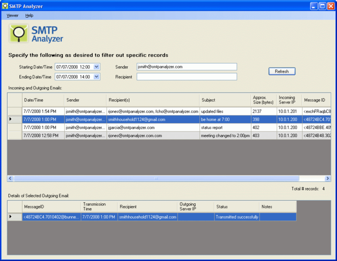 SMTP Analyzer Screenshot 1