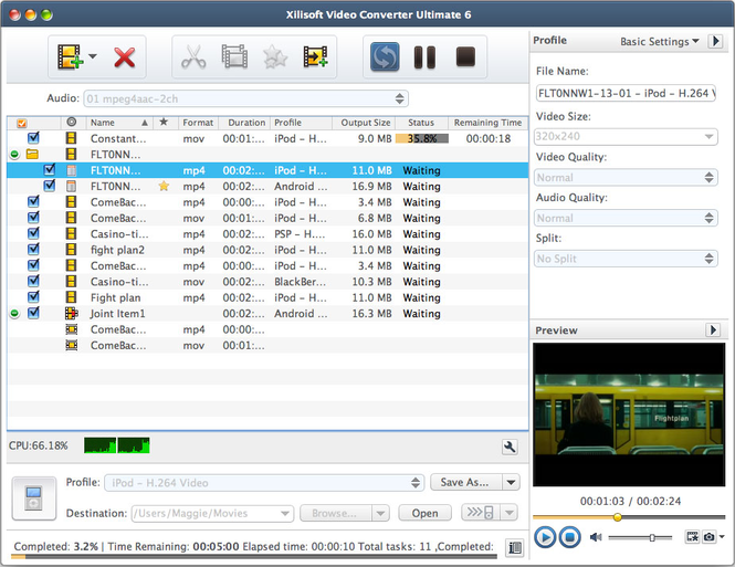 Xilisoft Video Converter Standard Mac Screenshot