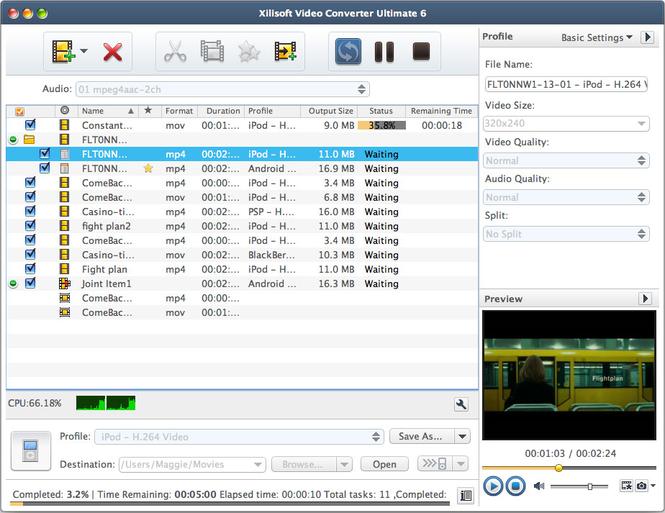 Xilisoft Video Converter Standard Mac Screenshot