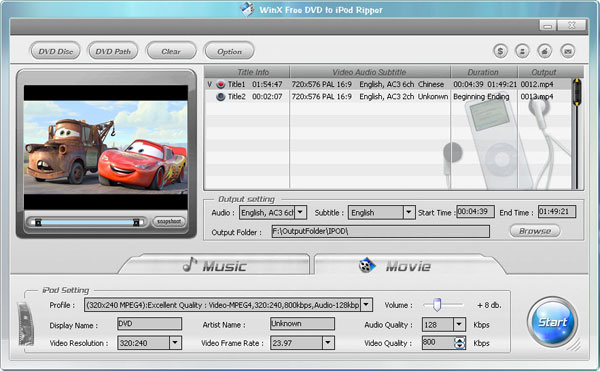 WinX DVD to iPod Ripper Screenshot