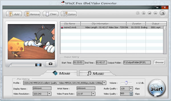 WinX iPod Video Converter Screenshot