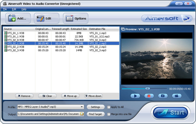 Aimersoft Video to Audio Converter Screenshot