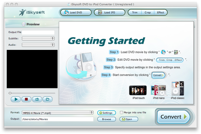iSkysoft DVD to iPod Converter for Mac Screenshot